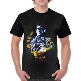 アイルトン・セナ ロゴ メンズ Tシャツ 半袖 丸首 薄手 快適 ファッション 人気 ゆったり スポーツウェア インナー 夏秋物 黒