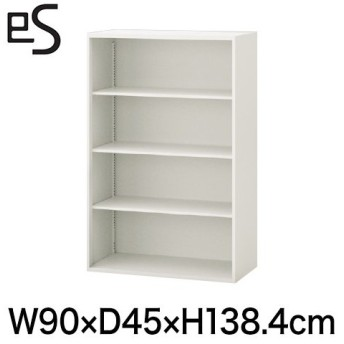 スチール書庫 エス キャビネット オープン棚 型 上段用 幅90cm 奥行45cm 高さ138.4cm 色:ホワイト系