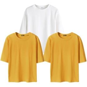 【ACE FACTORY】レディース トップス シンプル 五分丈 Tシャツ 3着セット おしゃれ 可愛い スリム インナー エコバッグ付き ホワイト イエロー イエロー L