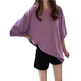 [ナンディン] おしゃれ かわいい 5分袖 ゆったり 丸首 Tシャツ トップス シンプル ラウンド ネック お洒落 可愛い 大きい おおきい 妊婦服 レディース (2XL, パープル)