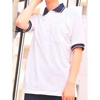 モンブラン 52-402-404-406 ポロシャツ 男女兼用・半袖 (看護師 ドクター 介護) S 402.白/ネイビー/ブルー