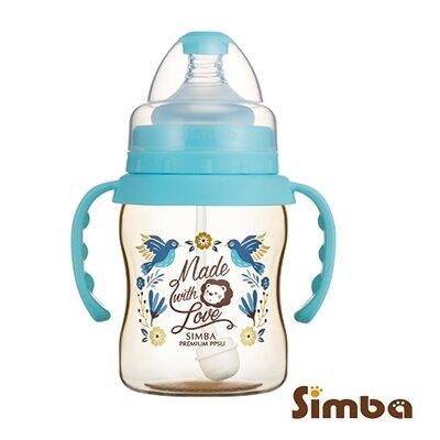 【淘氣寶寶】小獅王 辛巴 Simba 桃樂絲PPSU自動把手寬口葫蘆小奶瓶(天藍色) S61871