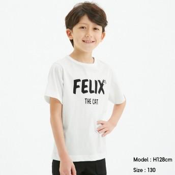 (GU)KIDS(男女兼用)グラフィックT(半袖)FELIX1+X WHITE 120cm