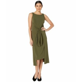 ECI レディース ワンピース トップス Sleeveless Knit Dress with Tie Front Detail Olive