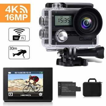 アクションカメラ、mospro 4K WiFi防水スポーツカム170度ワイド角度12MP (新品未使用の新古品)
