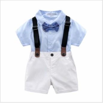 キッズスーツ 子供 男の子 夏 フォーマルスーツ 赤ちゃん 上下セット ベビー服 半袖シャツ 半ズボン タキシード 出産祝い 結婚式 誕生日