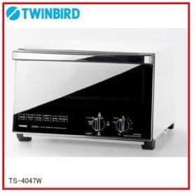 ツインバード:ミラーガラスオーブントースター(ホワイト)/TS-4047W
