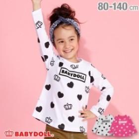 NEW ハート 総柄 ロンT 3099K ベビードール 子供服 キッズ ベビーサイズ 女の子
