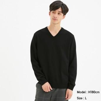 (GU)ファインゲージVネックセーター(長袖)CL BLACK S