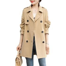 BSCOOLトレンチコート レディース アウター ジャケット スプリングコート ゆったり 韓国ファッション 長袖 薄手 春服 着痩せ 春コート(Cカーキ)