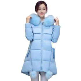 Qiangjinjiu レディースダウンコートフェイクファーパーカーパファージャケットアウターウェア Light Blue XS