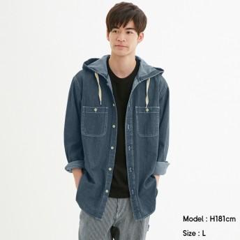 (GU)デニムフーディシャツ(長袖) BLUE M