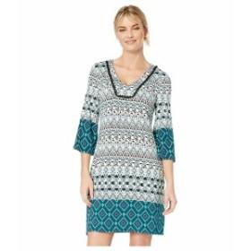 トリバル レディース ワンピース トップス 3/4 Bell Sleeve Border Printed Jersey Dress Atlantic