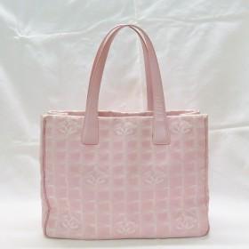 シャネル CHANEL ニュートラベルライン トートバッグMM A20157 ピンク キャンバス 保存袋付き 【中古】【あすつく】