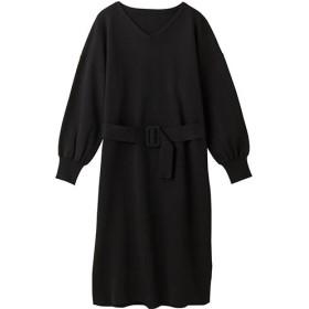 50%OFF【レディース】 ベルト付きニットワンピース - セシール ■カラー:ブラック ■サイズ:M