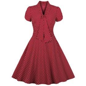 MISSVIN 女性の1950年代ヴィンテージディープVネックハーフスリーブレトロカクテルスウィングティードレス (2XL)