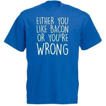 (ベーコンが好きでないのなら何かの間違い。) Either You Like Bacon Or You're Wrong, メンズ プリント Tシャツ - ロイヤル ブルー/白 S = 89-94 cm