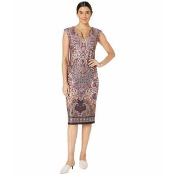 ECI レディース ワンピース トップス V-Neck Paisley Printed Scuba Dress Wine Multi
