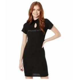 ベベ レディース ワンピース トップス Short Sleeve Ombre Logo Dress with Keyhole Mock Neck Black/Gunmetal