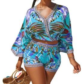 GodeyesW 女性のVネックBOHOスタイリッシュプリント2ピーススーツセットの衣装 Blue M