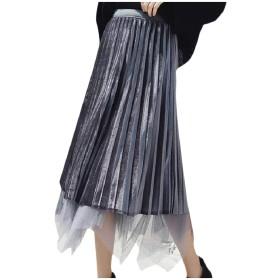 sayahe 膝のハイウエイスカートの下の女性のガーゼスケータースカート Grey L
