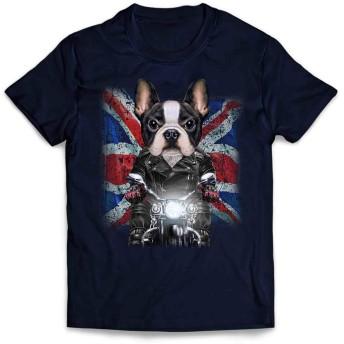 Fox Republic【かわいい フレンチブルドッグ ドッグ 犬 いぬ バイク イギリス】 メンズ 半袖 Tシャツ ネイビー XL