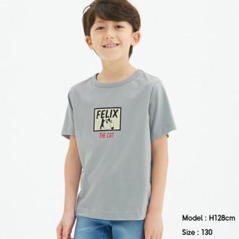 (GU)KIDS(男女兼用)グラフィックT(半袖)FELIX3+X BLUE 150cm