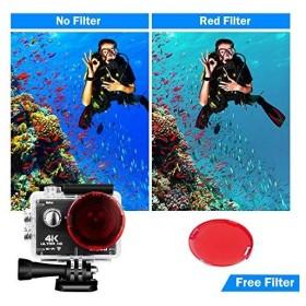 iRULU 4K高画質アクションカメラ WiFi搭載 1600万画素 30M防水 潜水モード等新機能 フィルター付き スポーツカメラ 170度広角レ