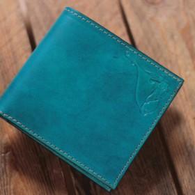 受注制作品 Half wallet 手染めブルー
