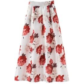 WE&energy 女性ビンテージ印刷高ウエストロングスカート 10 2XL