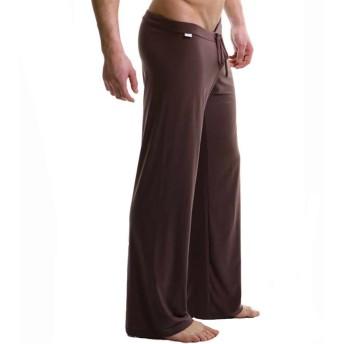 パンツ メンズ 男性 ミルクシルク 通気性 速乾 カジュアル ルームウェア ルーズ ソリッドカラー ロングパンツ