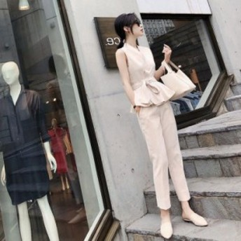 韓国ファッション ノースリーブセットアップ セレモニースーツ 二点セット Vネック 結婚式 マザースーツ ママスーツ 入学式 入園式 卒園
