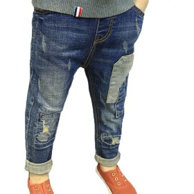 [もうほうきょう] キッズパンツ ジーンズ ボーイズ 子どもパンツ 長ズボン 裏起毛 ロングパンツ 男の子 (ブルー(春秋), 120cm)