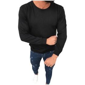Romancly メンズスウェットシャツのコンフィロングスリーブクルーネック純カラーティートップ Black M