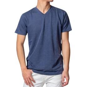 R-RN-1907 杢柄 半袖Tシャツ (106,ネイビー,M)