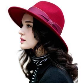 FADVES 中折れハット ウール帽子 レディース 秋冬 フェルトハット 中折れ帽子 ジャズ帽 つば広 UV対策 カジュアル エレガント 通勤 旅行 アウトドア (レッド)