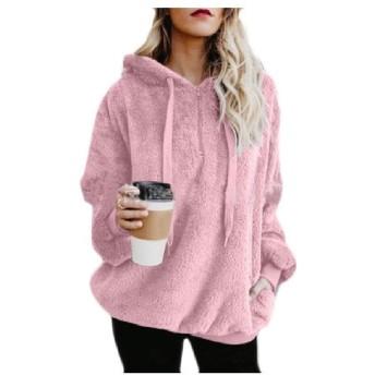 Beeatree 女性暖かい秋冬シャギーポケットスウェットシャツプルオーバー Pink S