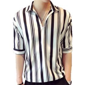 TA0HUA夏の5点袖シャツメンズルーズBF風ヘアスタイリストレジャースリーブ半袖シャツ (2XL, ホワイト)
