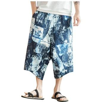 男性 薄手 夏服 メンズ パンツ ズボン 袴パンツ ワイドパンツ ファッション 棉麻 七分丈 花柄 ゆったり 大きいサイズ 夏 ゆったり
