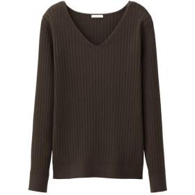 (GU)ワイドリブVネックセーター(長袖) DARK BROWN S