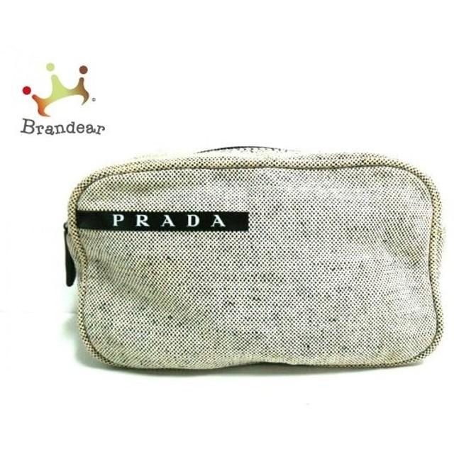 プラダスポーツ PRADA SPORT ポーチ アイボリー×黒 ジャガード  値下げ 20191003