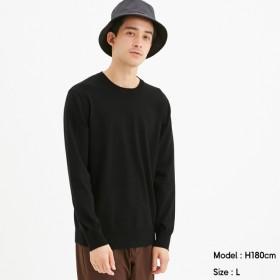 (GU)ファインゲージクルーネックセーター(長袖)CL BLACK XL