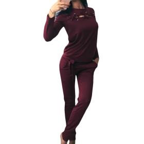 Candiyer 女性カジュアルストラッピング中空アウト弾性底ジョガーアクティブウェアセット Wine Red M