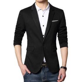 Romancly メンズ特大ボタンスプリットラペルスリムラウンジブレザースーツジャケット Pattern2 L