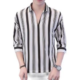 VITryst メンズストライプカジュアルレジャーVネック3 / 4スリーブレギュラーフィットTシャツ Light Grey M