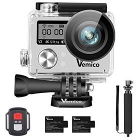 Vemico アクションカメラ 4K ウェアラブルカメラ 防水 カメラ アクションカム WIFI搭載 1600万画素 前面と背面ダブルインチ液晶画面
