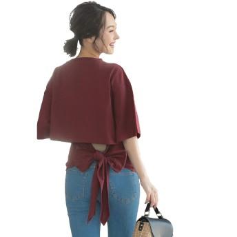 [神戸レタス] バックリボン 5分袖 Tシャツ [C3921] レディース ワンサイズ(M) レッドブラウン