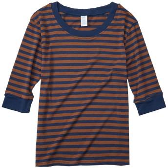 Xinmi tシャツ レディース 五分袖 トップス カットソー ボーダー柄 大きいサイズ 韓国ファッション 薄手 夏物 ハイネック Tシャツ 横縞 洋服 (XL, コーヒー)