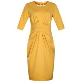 YACUN 女性のプラスサイズの3/4のスリーブペンシルオフィスパーティードレス Yellow 6XL