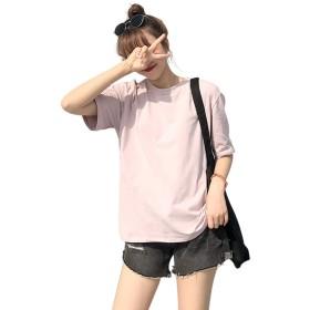 レディース ゆったり Tシャツ 半袖 Ins風 Uネック 無地 クルーネック インナー カジュアル シャツ カラーTシャツ 綿 トップス 夏服 浅粉 2XL